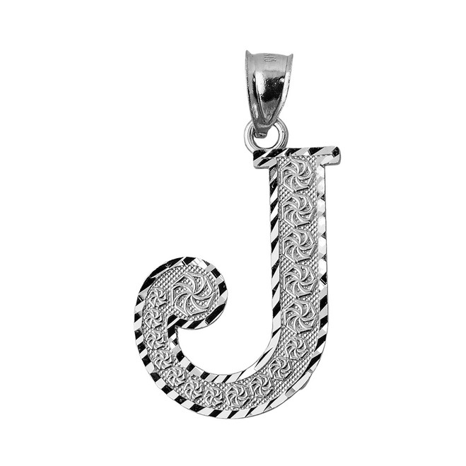 Initial J White Gold Charm Pendant
