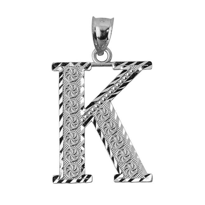 Initial K White Gold Charm Pendant