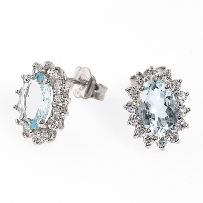 14K White Gold Light Blue Aquamarine and CZ Stud Earrings