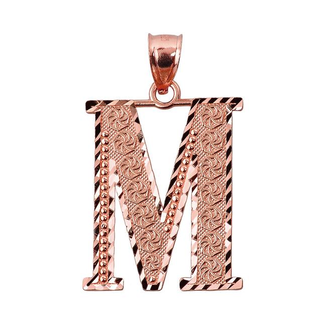 Initial M Rose Gold Charm Pendant