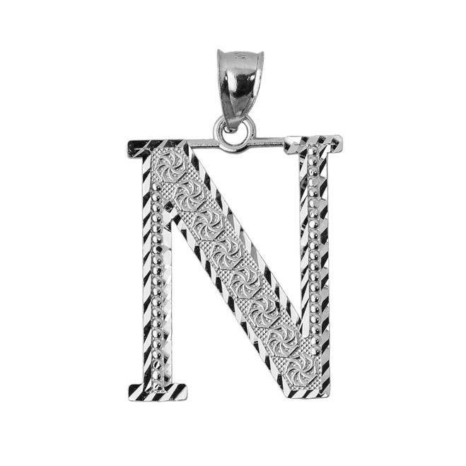 Initial N White Gold Charm Pendant
