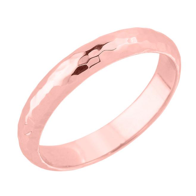 Rose Gold 4 mm Hammered Wedding Band