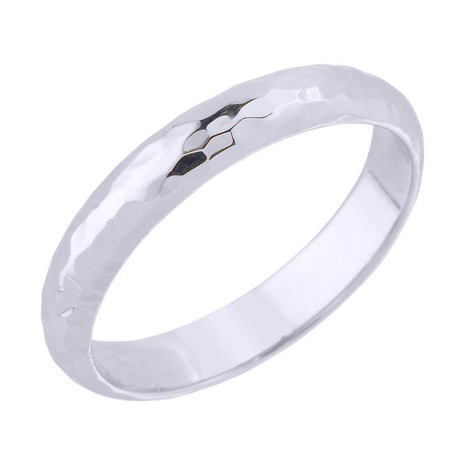 Sterling Silver 4 mm Hammered Wedding Band