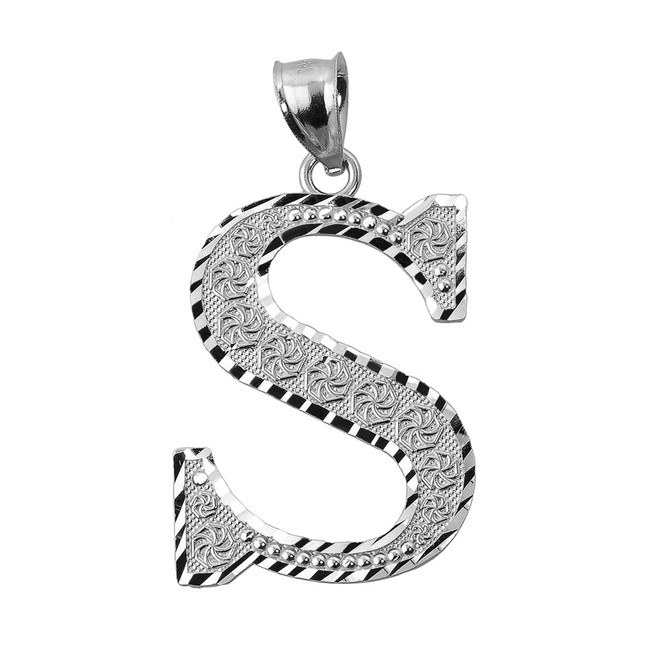 Initial S White Gold Charm Pendant