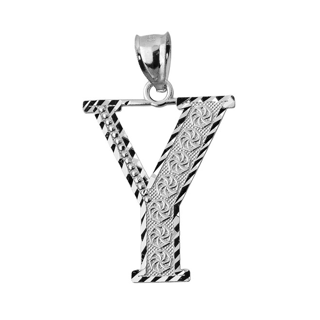Initial Y White Gold Charm Pendant