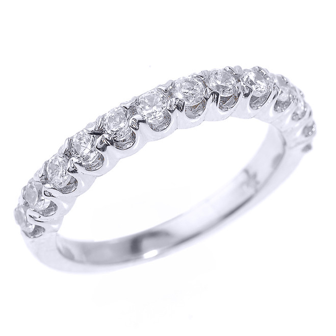 14k White Gold Stackable Diamond Wedding Band