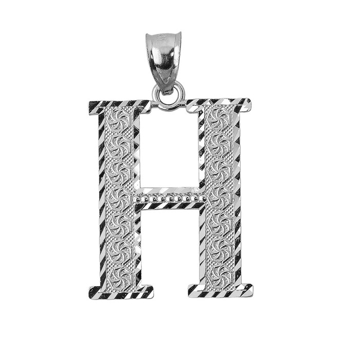 Initial H Silver Charm Pendant