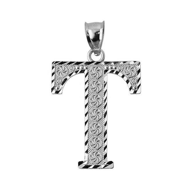 Initial T Silver Charm Pendant