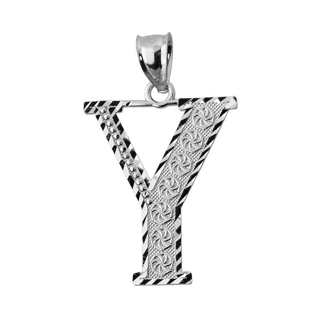 Initial Y Silver Charm Pendant