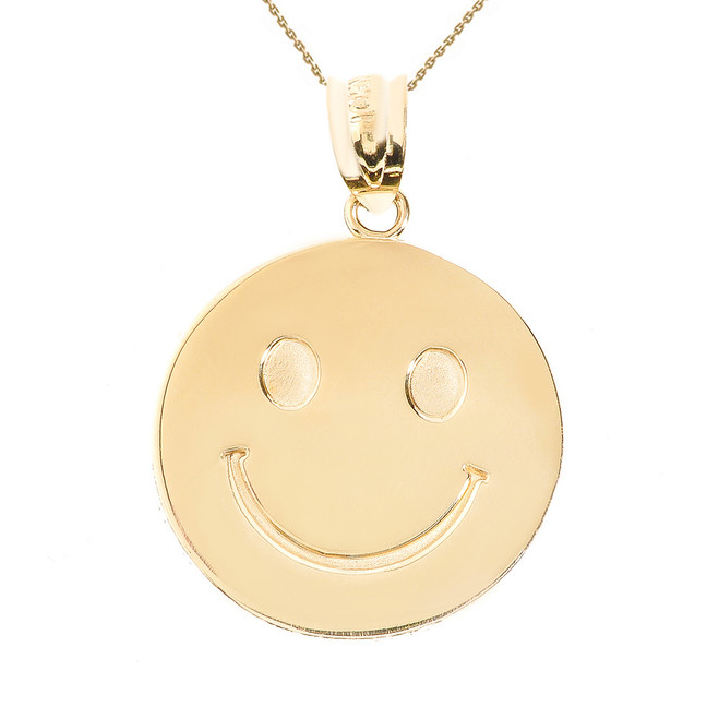 Yellow Gold Smiley Face Disc Pendant Necklace