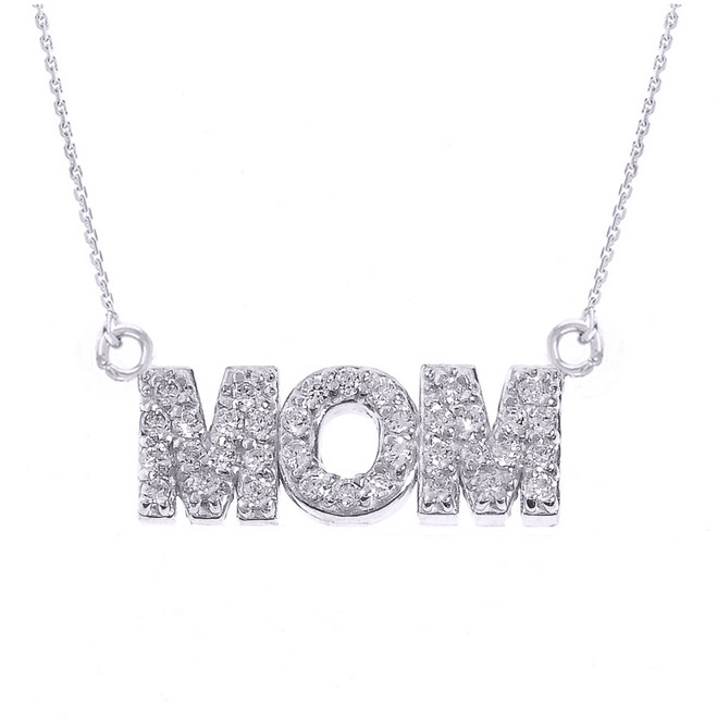 "14 White Gold ""MOM"" CZ Pendant Necklace"