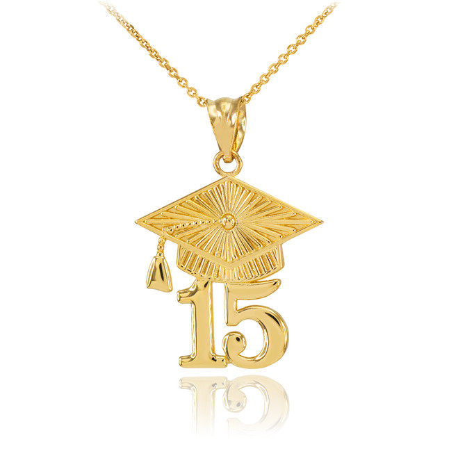Gold 2015 Class Graduation Pendant Necklace