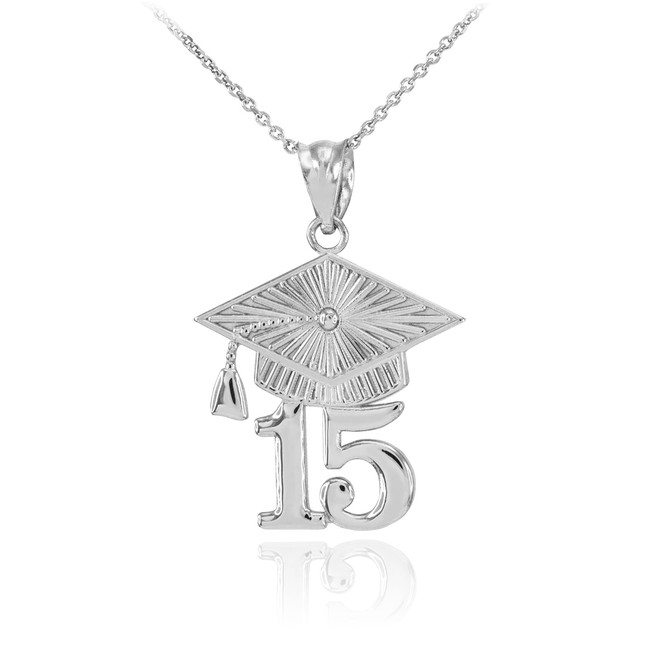 White Gold 2015 Class Graduation Pendant Necklace