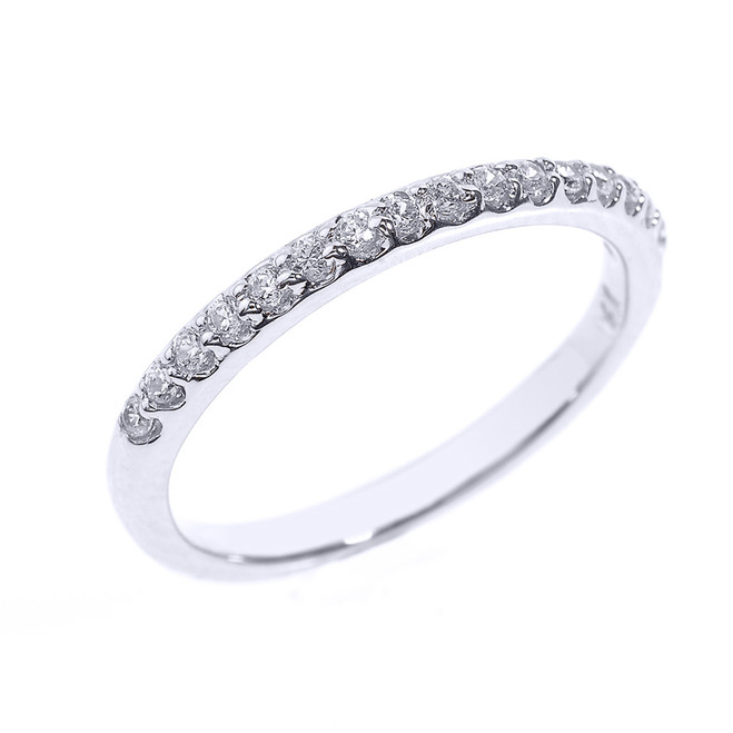 14k White Gold CZ Stackable Wedding Band