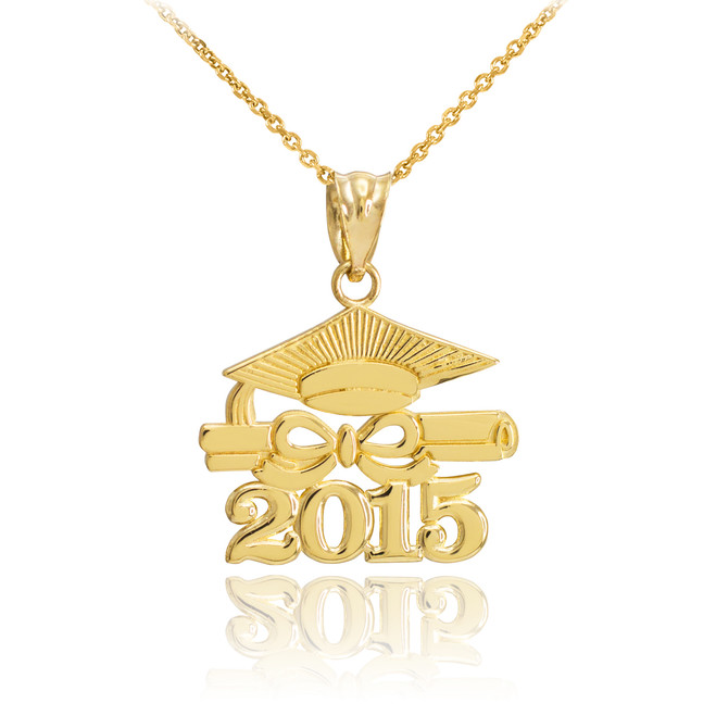 "Gold ""CLASS OF 2015"" Graduation Pendant Necklace"
