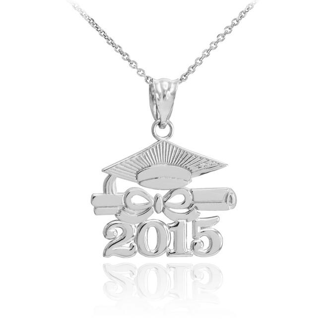 "White Gold ""CLASS OF 2015"" Graduation Pendant Necklace"