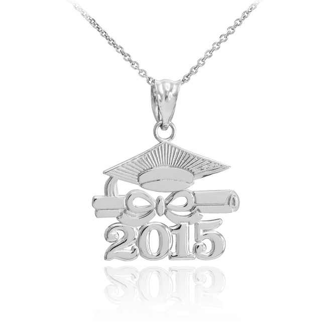 "Silver ""CLASS OF 2015"" Graduation Pendant Necklace"