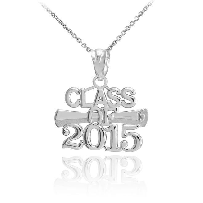 "White Gold ""CLASS OF 2015"" Graduation Charm Pendant Necklace"