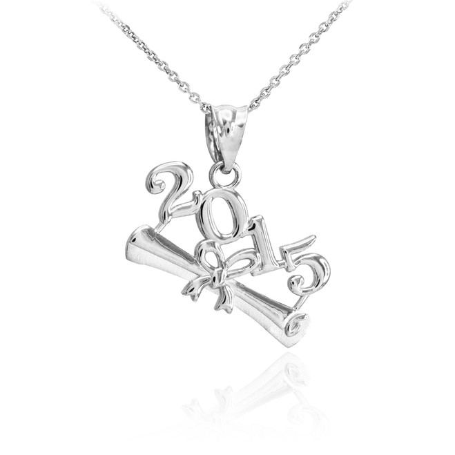 2015 Class Graduation White Gold Pendant Necklace