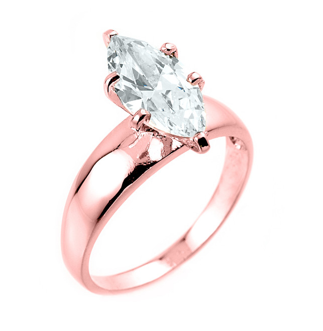 Rose Gold Marquise CZ Solitaire Engagement Ring