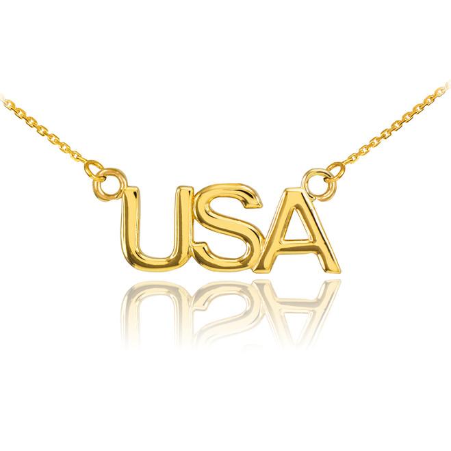 14K Gold USA Necklace