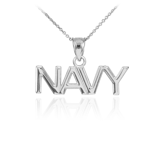 White Gold NAVY Pendant Necklace
