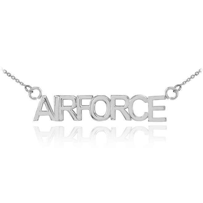 14K White Gold AIRFORCE Necklace