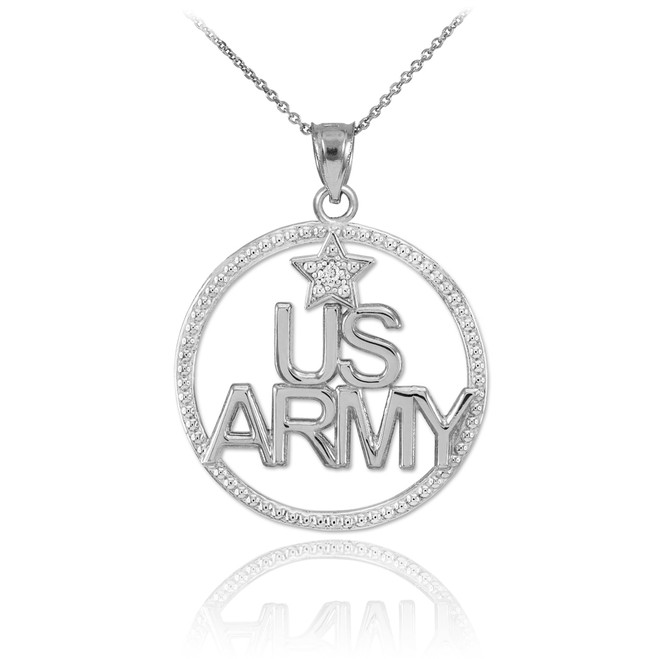 White Gold 'US ARMY' Diamond Pendant Necklace