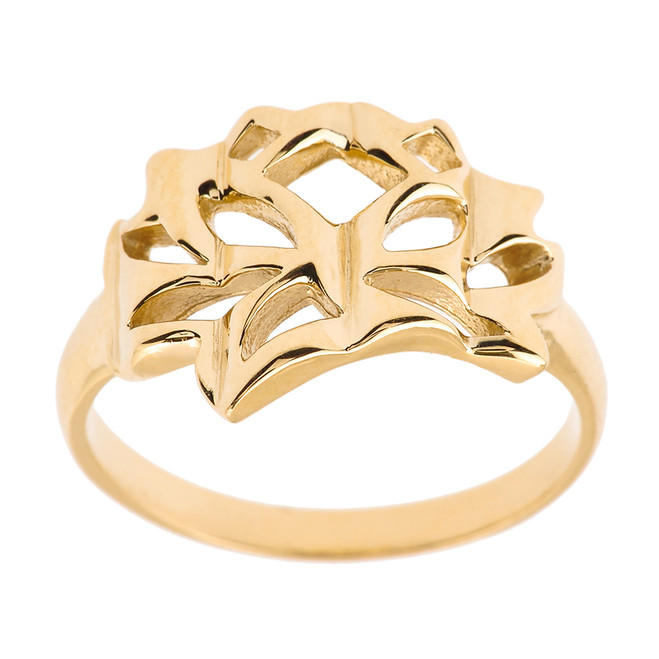 Yellow Gold Lotus Blossom Flower Ring
