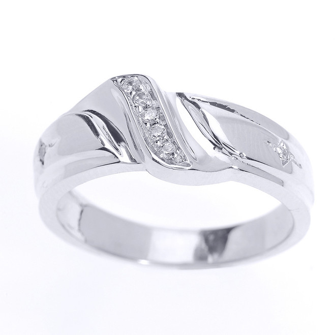 Men's Diamond Wedding Band in White Gold