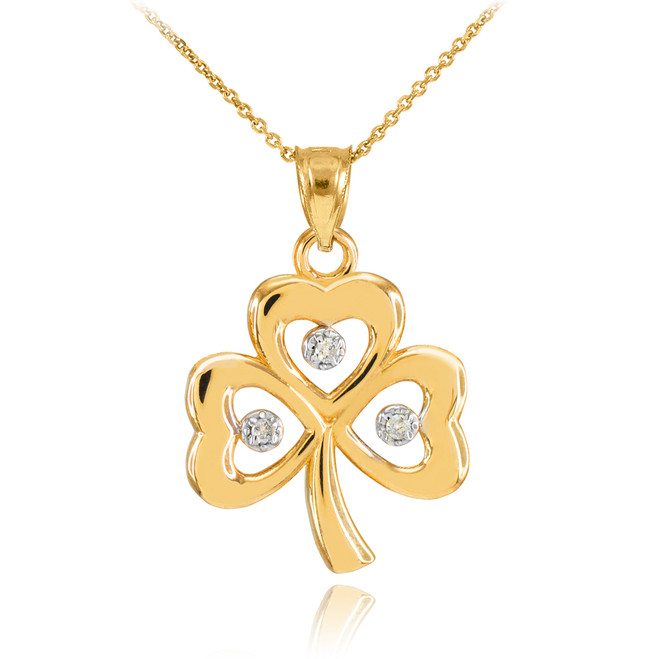 Gold 3-Leaf Diamond Clover Pendant Necklace