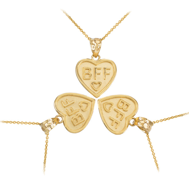 3pc Gold 'BFF' Heart Pendant Necklace Set