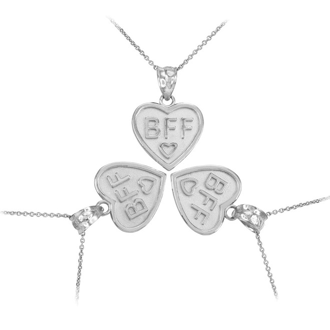 3pc White Gold 'BFF' Heart Pendant Necklace Set