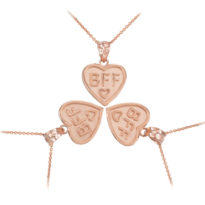3pc Rose Gold 'BFF' Heart Pendant Necklace Set