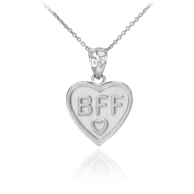 Sterling Silver 'BFF' Heart Pendant Necklace