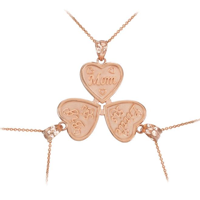 3pc Rose Gold 'Mom' 'Big Sis' 'Little Sis' Heart Pendant Necklace Set