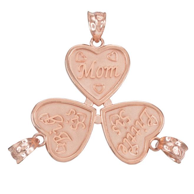 3pc Rose Gold 'Mom' 'Big Sis' 'Little Sis' Heart Pendant Set