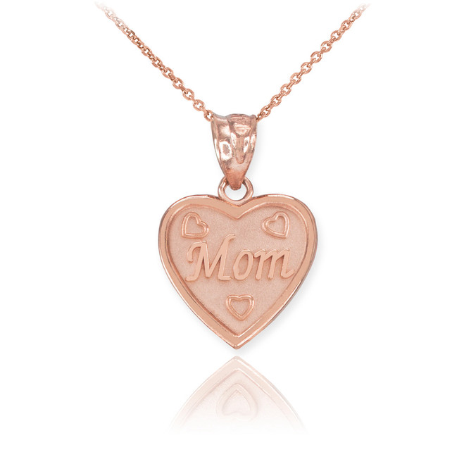 Rose Gold 'MOM' Heart Pendant Necklace