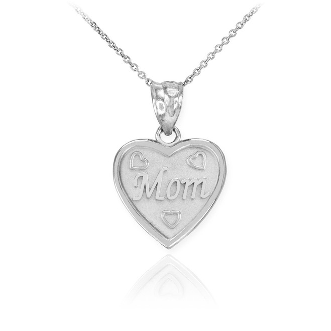 Sterling Silver 'MOM' Heart Pendant Necklace