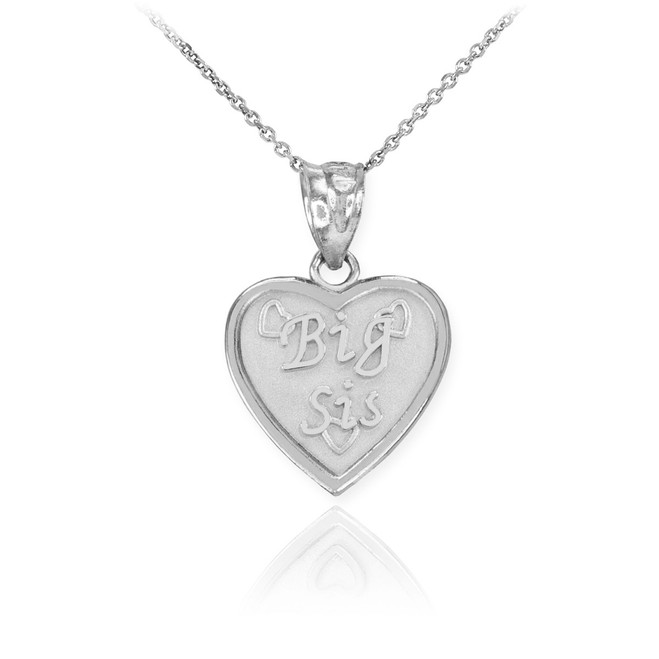 White Gold 'BIG SIS' Heart Pendant Necklace
