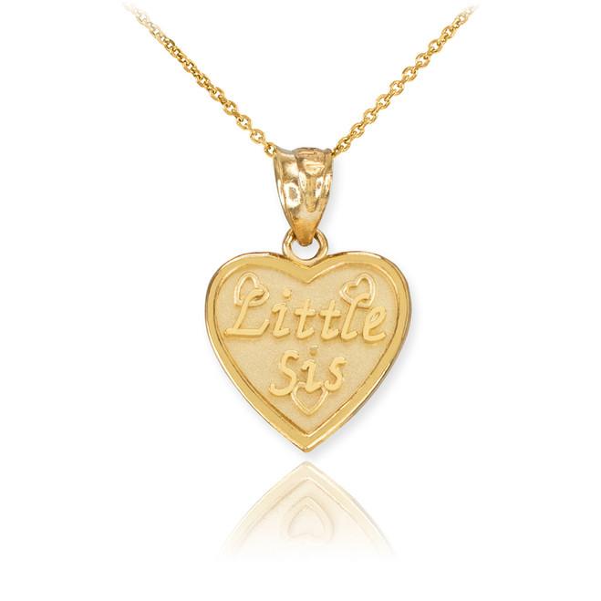 Gold 'LITTLE SIS' Heart Pendant Necklace