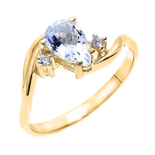 Yellow Gold Pear Shaped Aquamarine and Diamond Proposal Ring