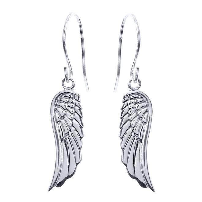 White Gold Angel Wings Earrings