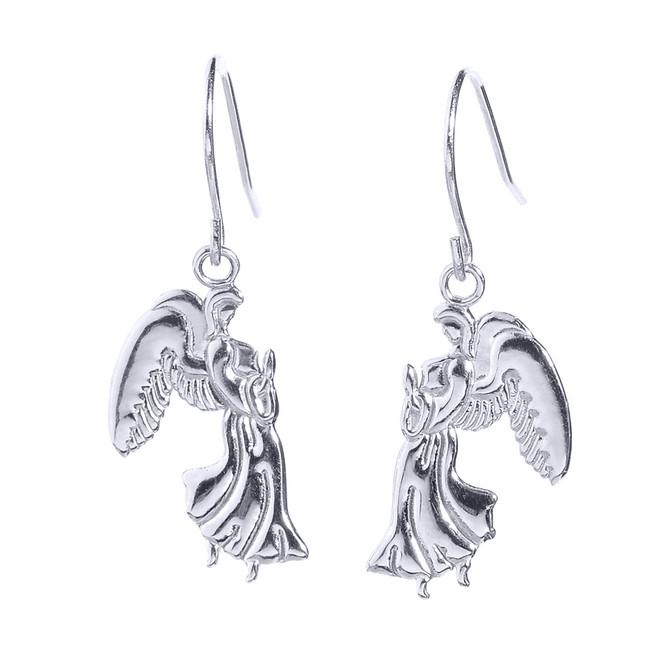 White Gold Praying Angels Earrings