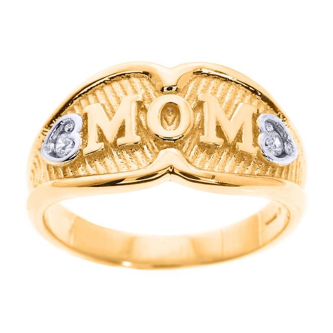 "Yellow Gold ""MOM"" Diamond Ring"