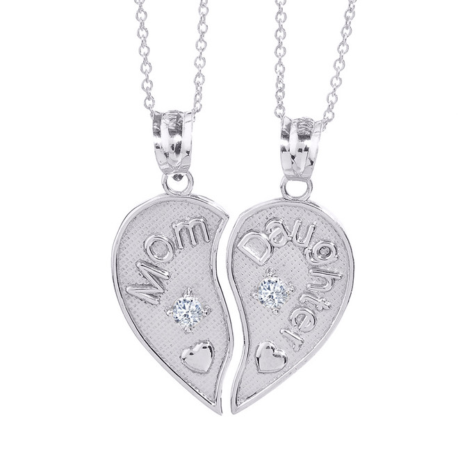 2pc Sterling Silver 'Mom' and 'Daughter' CZ Heart Necklace Set