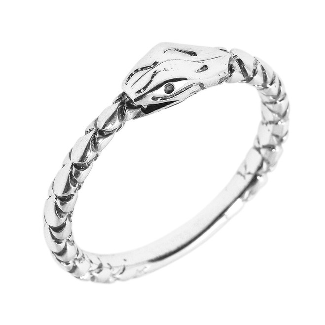 Sterling Silver Ouroboros Snake Thumb Ring (5 mm Head)