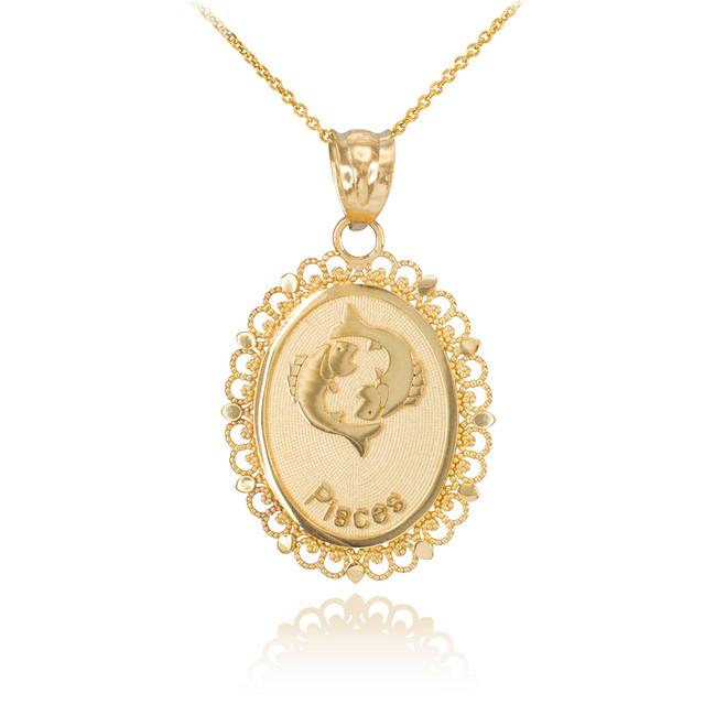 Gold Pisces Zodiac Sign Filigree Oval Pendant Necklace