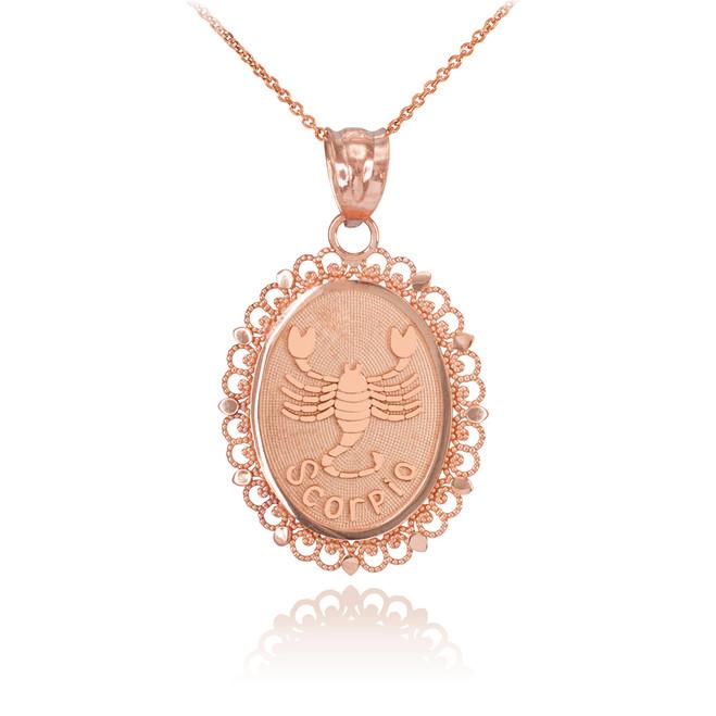 Rose Gold Scorpio Zodiac Sign Filigree Oval Pendant Necklace