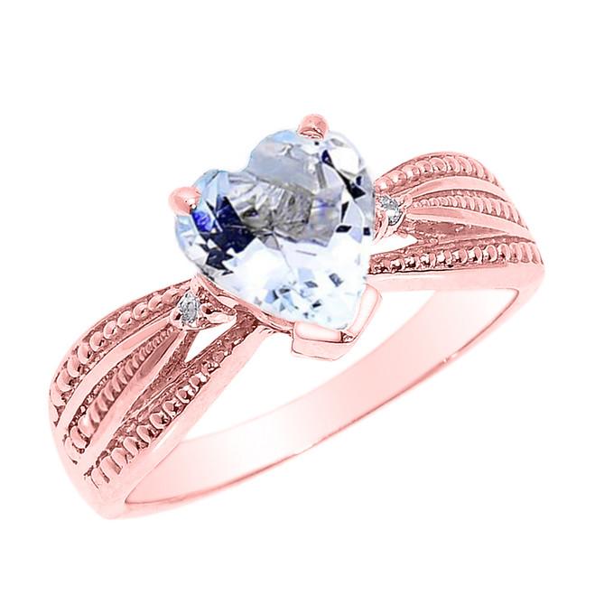 Beautiful  Rose Gold Aquamarine and Diamond Proposal Ring